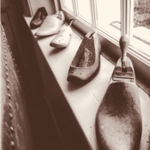 Antique shoe lasts - on display in this experiential hotel in Tasmania