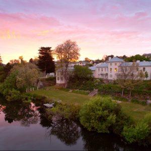 Tasmanian historic hotel garden has tree 9 stories high